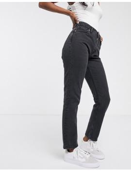 Monki – Kimomo – Svarta Mom Jeans I Ekologisk Bomull Med Hög Midja by Monki