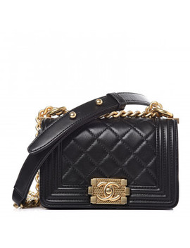 Chanel Lambskin Quilted Mini Boy Flap Black by Chanel