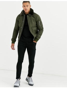 Schott Air Insulated Bomber Jacket Slim Fit With Detachable Faux Fur Collar In Khaki Green by Schott's