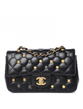Chanel Lambskin Quilted Studded Mini Rectangular Flap Black by Chanel