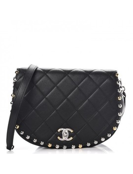 Chanel Lambskin Quilted Studded Bubble Flap Black by Chanel