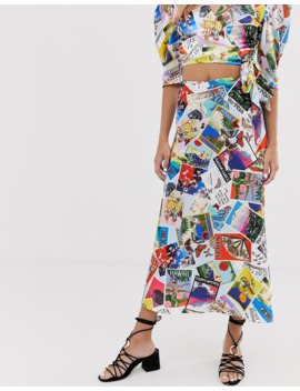Twisted Wunder Satin Midi Skirt In Postcard Print by Asos