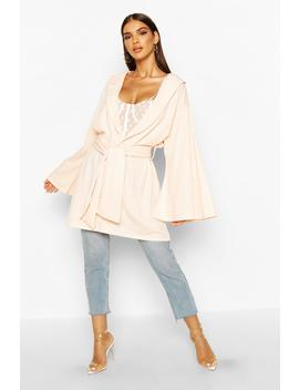 Belted Collared Wide Sleeve Kimono by Boohoo