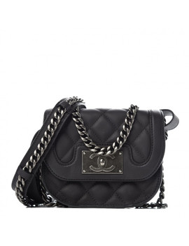 Chanel Calfskin Quilted Small Double Chained Messenger Flap Charcoal by Chanel