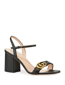 Gucci Leather Gg Block Heel Sandals by Gucci