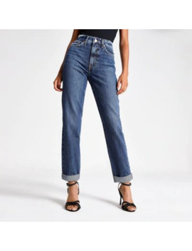Dark Blue High Rise Mom Jeans by River Island