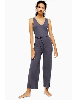 Ribbed Tie Jumpsuit by Topshop