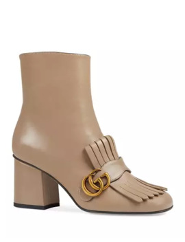 Gucci Gg Marmont Kiltie Fringe Leather Booties by Gucci