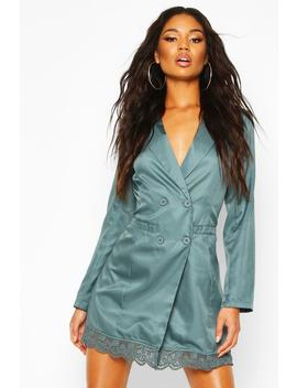 Lace Trim Button Down Blazer Dress by Boohoo