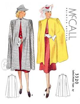 1930s 1940s Vintage Women's Sewing Pattern Cape Day Or Evening // // 2 Lengths // Pick Your Size Small Medium Large by Etsy