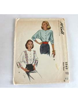 "1940s Blouse Sewing Pattern / Mc Call 5949 / Wartime Clothing Wwii / Bust 30"" by Etsy"