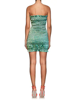 Emily Smocked Cotton Blend Lamé Minidress by Area