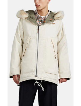 Reversible Fur Trimmed Cotton Blend Parka by Vis Vim