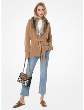Faux Fur Collar Cotton Blend Cardigan by Michael Michael Kors