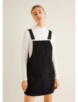 Black Denim Pinafore Dress by Mango