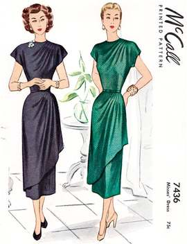 1940 Vintage Sewing Pattern 1940s Cocktail Dress Sewing Pattern // Grecian Drapes // Cap Sleeves // Bust 38 by Etsy