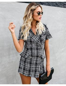 Rebecca Plaid Tweed Collared Romper by Vici