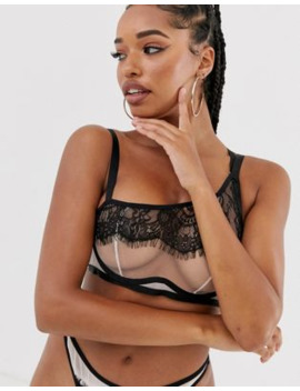 Wolf &Amp; Whistle Fuller Bust Asymmetric Strap Detail Lace Overlay Bra In Pink by Wolf & Whistle