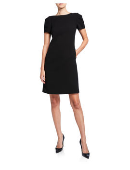 Cohen Short Sleeve Finesse Crepe Shift Dress by Lafayette 148 New York