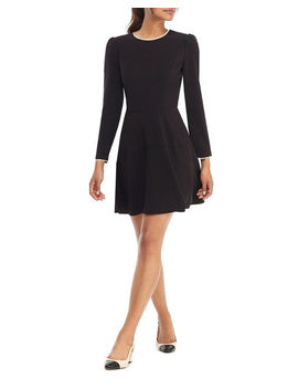Long Sleeve Box Weave Crepe Fit & Flare Dress W/ Pearly Trim by Gal Meets Glam Collection