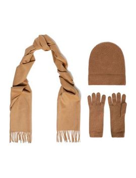 Set Of Three Cashmere Scarf, Glove And Ribbed Beanie by Johnstons Of Elgin