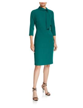 Tie Neck 3/4 Sleeve Day Dress by Badgley Mischka