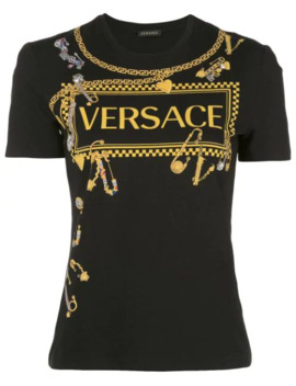 Graphic Logo Print T Shirt by Versace