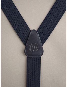 SuspensÓrios De Pele Azul Marinho Com Gravura Personal Tailoring by Massimo Dutti