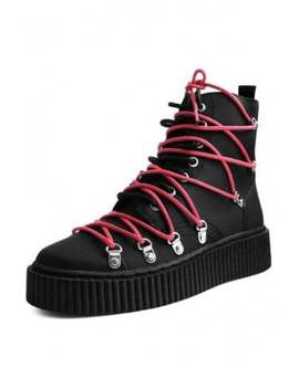 Red Laced Casbah Creeper Boot by Tuk Shoes