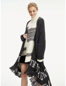 Wool Blend Fringed Cape by Tommy Hilfiger