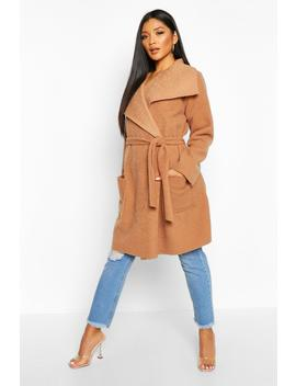 Brushed Wool Look Belted Coat by Boohoo