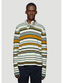 Striped Knit Sweater In White by Jw Anderson