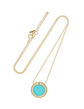 T Two 18 Karat Gold, Turquoise And Diamond Necklace by Tiffany & Co.