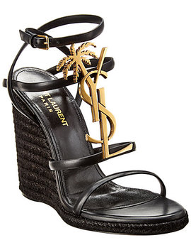 Saint Laurent Cassandra Leather Wedge Sandal by Saint Laurent