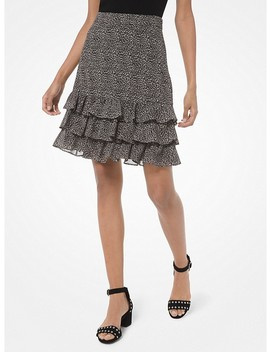Mini Leopard Georgette Ruffled Skirt by Michael Michael Kors