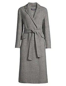 Scout Long Belted Wool Houndstooth Coat by Max Mara