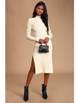 Stevie Beige Mock Neck Long Sleeve Midi Sweater Dress by 4 Si3 Nna