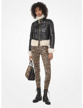 Leopard Stretch Viscose Jacquard Leggings by Michael Michael Kors