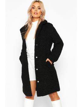 Plus Teddy Faux Fur Longline Coat by Boohoo