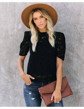 Alice Short Sleeve Lace Blouse   Black by Vici