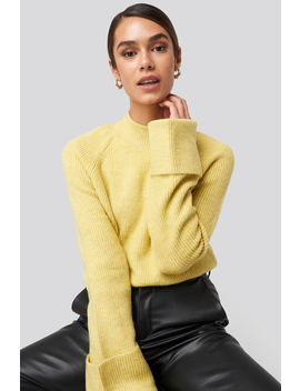 Handle Curved Knitted Sweater Yellow by Trendyol