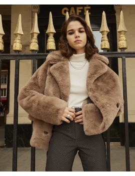 Short Brown Faux Fur Coat by The Kooples