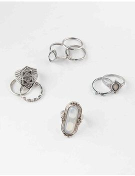 Full Tilt 9 Piece White Stone Ring Set by Full Tilt