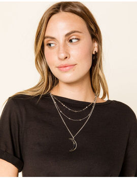 West Of Melrose Moon Silver Layered Necklace by West Of Melrose