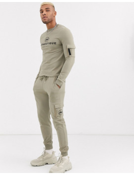 Asos Design Co Ord Muscle Fit Sweatshirt With Ma1 Pockets &Amp; Chest Logo Print In Logo Print In Khaki by Asos Design