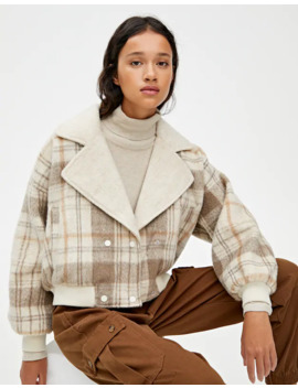 Cropped Check Coat With Lapel Collar by Pull & Bear