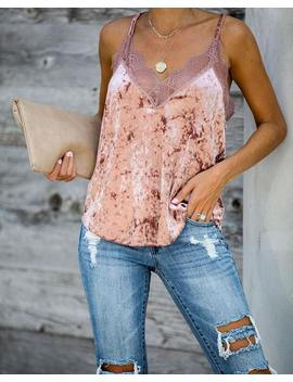On A Whim Velvet Lace Cami Tank   Mauve by Vici