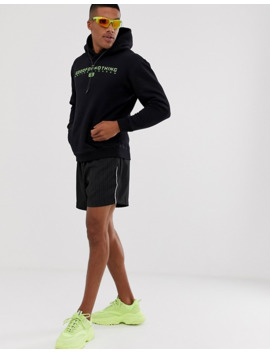 Good For Nothing Hoodie With Neon Logo In Black by Good For Nothing