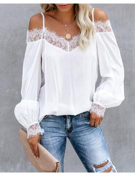 Highly Desired Lace Cold Shoulder Blouse   White   Final Sale by Vici