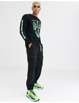 Asos Design Halloween Relaxed Long Sleeve Skeleton T Shirt With Glow And The Dark Print by Asos Design